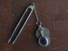 Metal Hair Pin with Layered Vintage Afghan by PeacockDreamsDesigns, $14.00