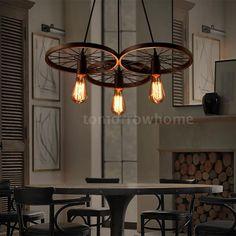 3 Arm E27 Ceiling Pendant Light Lamp Chandelier Metal Wheels Szw K0l0