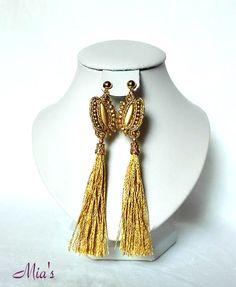 Long, golden earrings, tassel earrings  #tasselearrings #soutacheearrings