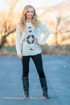 www.sexymodest.com Framed in Aztec Sweater Top #smbfaves