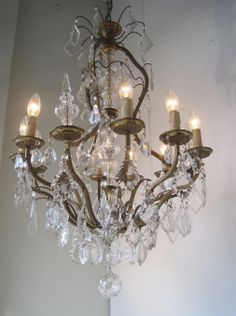 French Crystal and bronze 10 Light Chandelier