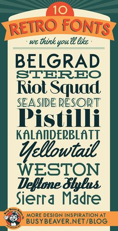 10 Free Retro Fonts  ~~ {w/ links}