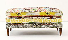 With two removable cushions, this multi-purpose Collage Cushion Bench turns into an extra cushy pillow for lounging on the floor. Bench Cushions, Ottoman Bench, Fabric Ottoman, Upholstered Ottoman, Bench Seat, Outdoor Cushions, Find Furniture, Painted Furniture, Furniture Refinishing