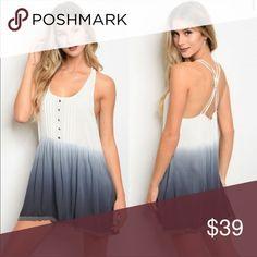 Ombré sundress Super cute ombré sundress white/blue adjustable straps , look great with leggings & jeggings Dresses