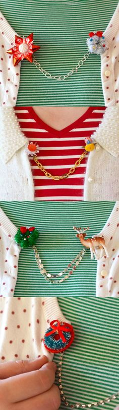 Use vintage or new holiday minis to create these unique DIY Christmas sweater clips! Perfect for embellishing your fashion items during the holidays.
