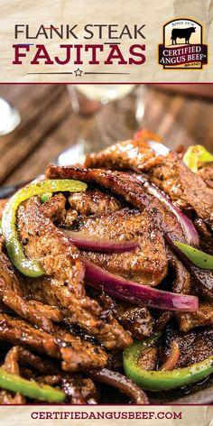 Flank Steak Fajitas - #recipesforflanksteak Steak Dinner Recipes, Beef Appetizers, Best Beef Recipes, Flank Steak Recipes, Appetizer Recipes, Mexican Food Recipes, Cooking Recipes, Grilling Recipes, Flank Steak Tacos