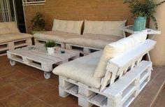 massive Holzmöbel aus Paletten auflagen tisch