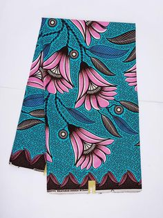 Blue and pink floral African print fabric by the Yards/ Ankara fabric/ African Supplies/ African fabric/ pink flowers fabric/ turquoise blue Ankara Fabric, African Fabric, African Textiles, Pink Fabric, Floral Fabric, Fabric Flowers, African Print Dresses, African Prints, African Patterns