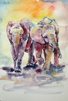 ARTFINDER: Playing elephant babies by Kovács Anna Brigitta - Original watercolour painting on high quality watercolour paper. I love landscapes, still life, nature and wildlife, lights and shadows, colorful sight. Elephant Love, Elephant Art, African Elephant, Baby Elephants, Watercolor Animals, Watercolor Paintings, Elephant Watercolor, Watercolours, Rainbow Art