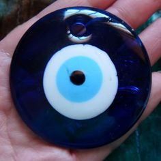 LARGE Glass Turkish Evil Eye Pebble Charm by DengraDesigns on Etsy, $7.95