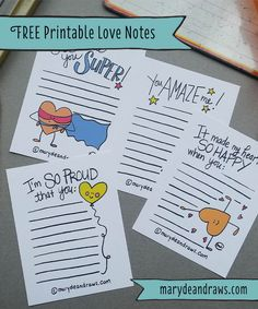 FREE PRINTABLE Hand-drawn Love & Encouragement Notes from Marydean Draws. School lunch box notes free printable for kids. Lunch Box Notes, School Lunch Box, School Lunches, School Days, Sunday School, Notes To Parents, Encouragement, Notes Free, Love Notes