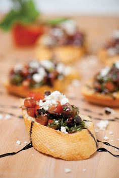 Mediterranean salsa with feta cheese roma tomato bruschetta. #easy #appetizer #recipe