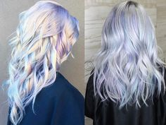 silver hair Holographic Hair Is Here: And Were Obsessed With It Hair Color Purple, Hair Dye Colors, Cool Hair Color, Blonde Color, Brown Blonde, Opal Hair, Lace Hair, Dye My Hair, Silver Hair