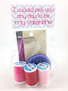 I'd pick you to be my valentine....@dritzsewing seam ripper, needles and @makeitcoats threads in pinks and red... My Crafty Valentines