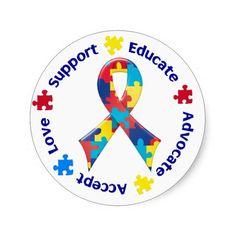 Sensibilisation sur l'autisme sticker rond