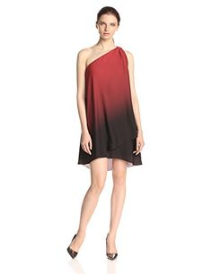 HALSTON HERITAGE Women's Ombre One Shoulder Cocktail Dress, Lipstick/Black Ombre - http://www.womansindex.com/halston-heritage-womens-ombre-one-shoulder-cocktail-dress-lipstickblack-ombre/
