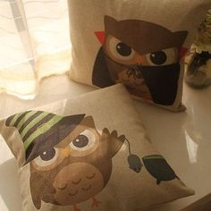 Owls Cartoon Magician Vampire Throw Pillow Case Decor Cushion Cover Square 45cm