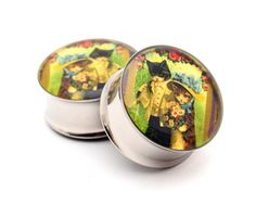 Vintage Cats Picture Plugs gauges - 16g, 14g, 12g, 10g, 8g, 6g, 4g, 2g, 0g, 00g, 7/16, 1/2, 9/16, 5/8, 3/4, 7/8, 1 inch