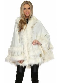 Double Layered Hooded Faux Fur Ivory Poncho