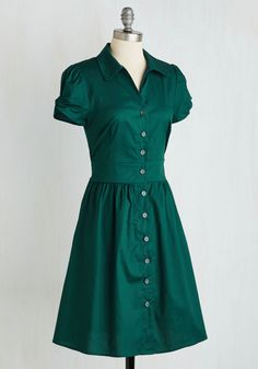 Summer School Cool Dress in Forest Green. Teach your students about signature style by sporting this forest green shirt dress - A ModCloth exclusive! #green #modcloth