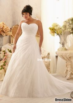 Elegant Sweetheart Tulle and Lace Plus Size Wedding Dress - Plus Size Dresses - Wedding Dresses - Weddings#.VKCkDd0MBg