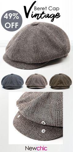 90de58eeb7f Men Vintage Tweed Newsboy Cap Warm Beret Caps Comfortable Flat Cabbie Hats  Octagonal Cap is hot sale on Newchic.
