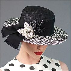 • Gaucho  • Design by Louise Green   • Fabric: Paglina, Ribbon, Flower  • Colors: Black with Ivory