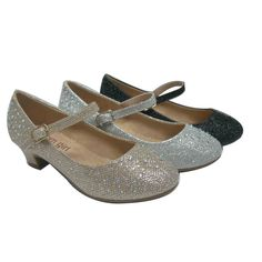 Girls Nude Sparkle Bejeweled Accent Low Heel Dress Shoes 11-3 Kids