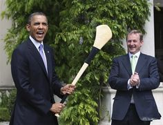 Hurling one of our national games: Obama takes to the field as a hurling full forward with Enda Kenny in supports as corner forward. Greatest Presidents, American Presidents, Michelle Obama, Hurley Stick, Mr Obama, Presidente Obama, Former President, Facial Expressions, The Past