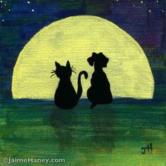 You, Me and the Moon. Painting of cat and dog silhouettes watching the moon rise together. JaimeHaney.com