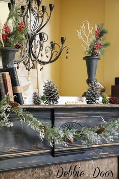 Winter mantel decorating ideas.