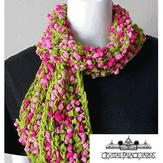 Popcorn + Deco Ribbon Scarf Knitted Ladies' Scarf by Crystal Palace Yarns - FREE Knitting Pattern Knitting Yarn, Free Knitting, Knitting Patterns, Crochet Patterns, Knitting Projects, Knit Or Crochet, Crochet Scarves, Crochet Hats, Scarf Knit