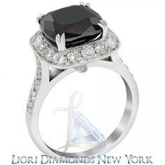 5.75 CT. Cushion Cut Black Diamond Engagement Ring 14K White Gold Vintage Style - Black Diamond Engagement Rings - Engagement - Lioridiamonds.com