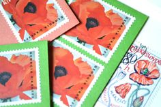 Poppy Postage Stationery Letter Writing Georgia O'keefe Poppies Pre-Stamped Cards Gift of Mail