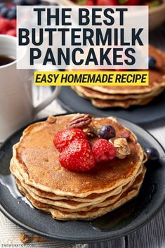 We love making this easy homemade buttermilk pancakes! This recipe is gives you quick pancakes from scratch. It's the only pancake recipe you need. You can even make the dry pancake mix ahead of time. Homemade Buttermilk Pancakes, Keto Cream Cheese Pancakes, Brunch Recipes, Breakfast Recipes, Pancake Recipes, Oven Recipes, Brunch Ideas, Meat Recipes, Breakfast Ideas