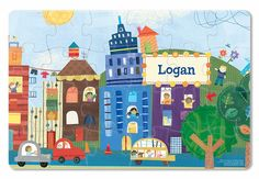 Cars and Vehicles Personalized Puzzle Your child will delight in piecing together all of the fun action in this adorable 24 piece personalized puzzle.