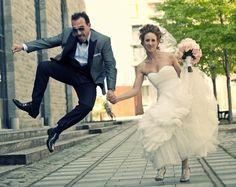 Dad jumps for joy!