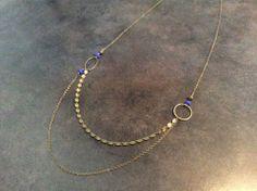 Collier multichaines bronze et bleu dur, perle en dentelle bronze et cristaux Swarovski bronze : Collier par guerloule