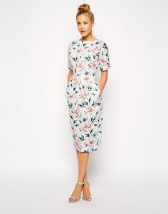 ASOS   ASOS Wiggle Dress in Pastel Floral Print at ASOS
