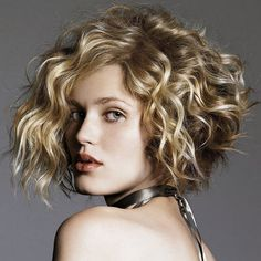 Short curly bob hairstyles with side bangs for women
