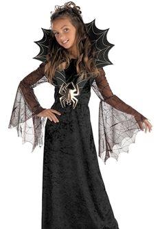 Girls Black Widow Spider Witch Vampire Halloween Costume Dress