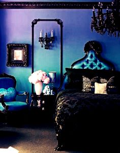 Royal Blue And Black Bedroom