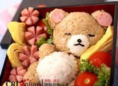 #bento #rilakkuma #bear #kawaii #sausages #omelette #egg #rice #asian #japan #japanese #lunch #lunchbox #salad #tomato #tomatoes
