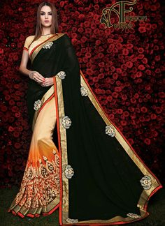 supernet sarees online india.This French Beige & Black Georgette Saree is including the attractive glamorous displaying the sense of cute and graceful. The
