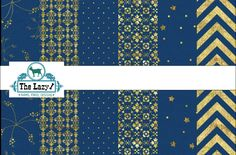 Blue & Gold Damask Star Chevron Dots  pattern  printed craft vinyl or heat transfer vinyl (iron on)  6x6, 8.5x11, 12x12, 12x24 12x36-decals by TheLazyIdesigns on Etsy