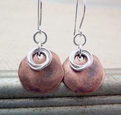 Copper Disc Earrings  Mixed Metal Earrings  by TouchOfSilver