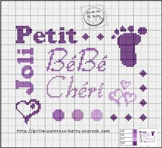 Bébé - baby - bébé chéri - point de croix - cross stitch - Blog : http://broderiemimie44.canalblog.com/