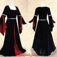 New Medieval Black Velvet Dresses Red Silk Wedding Gown Dance Dress Costume