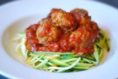 Zucchini Pasta with Extra Lean Meatballs