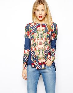 ASOS Top with Floral Block Panels and Long Sleeves